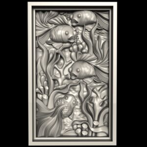 """3D STL Model for CNC and 3d Printer - Bas-Relief """"Fishes"""""""