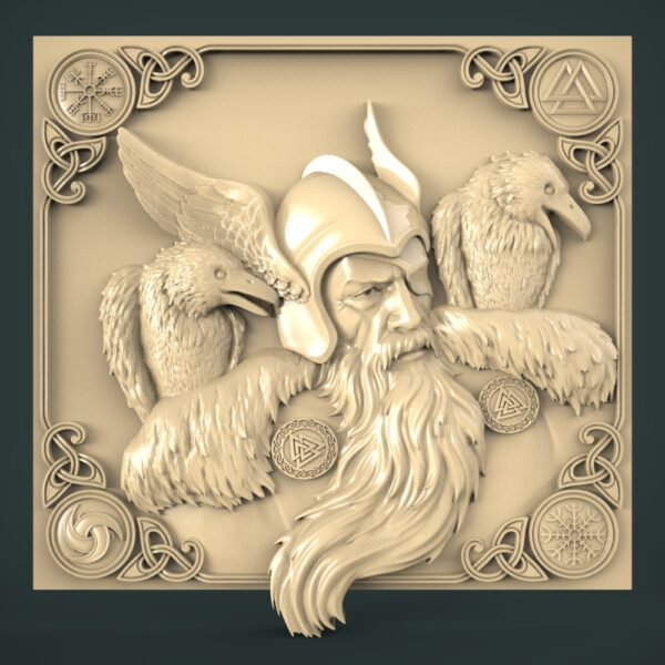 """3D STL Model for CNC and 3d Printer - Bas-Relief """"Odin"""""""