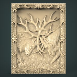 "3D STL Model for CNC and 3d Printer - Bas-Relief ""Deer Horns"""
